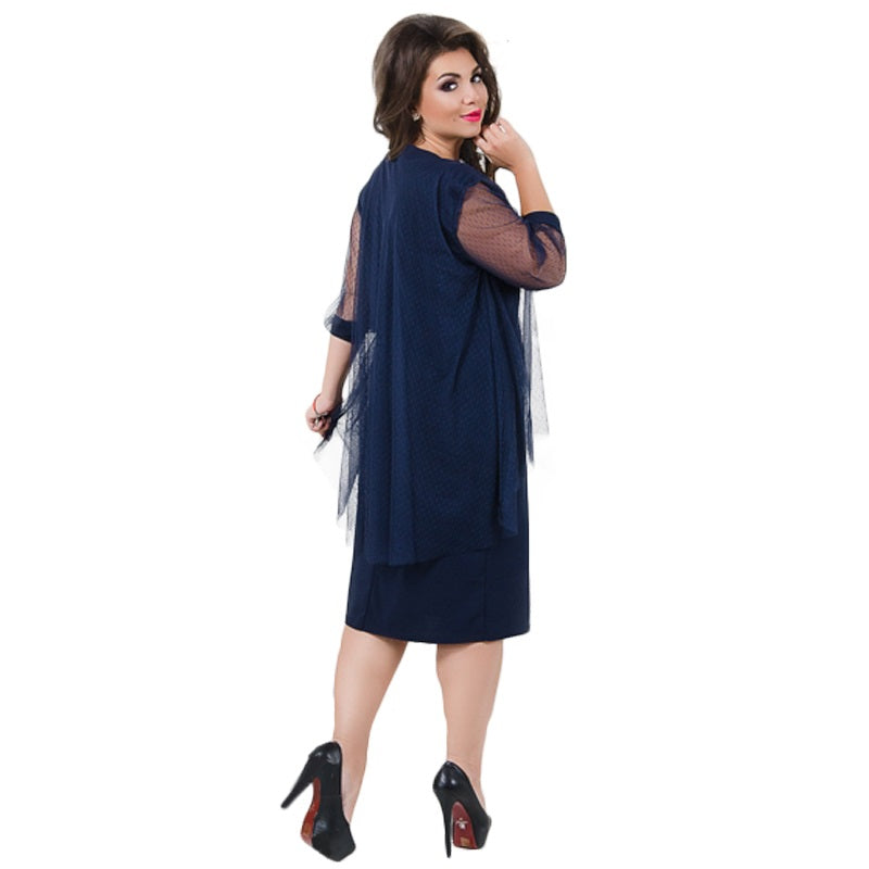 Summer Dress Plus Size Women Dress Fashion Straight Patchwork Mesh Dress Large Size Sheer Party Dress Vestidos 5XL 6XL