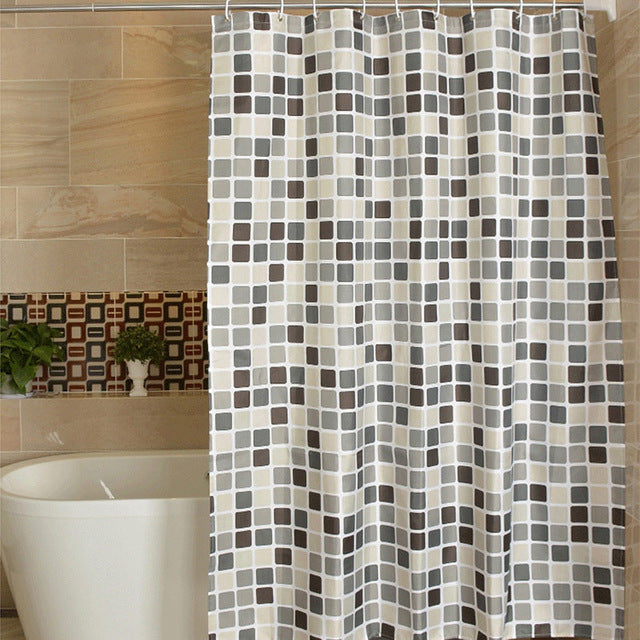 Check Plaid Polyester Bathroom Waterproof Shower Curtains