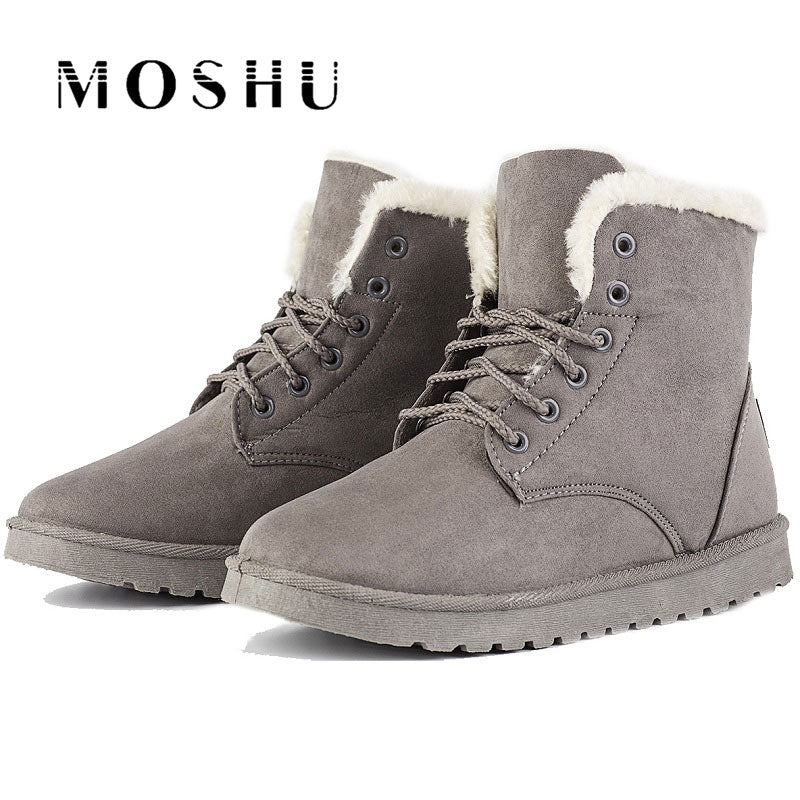 Women Ankle Snow Boots Classic Flock Fur Winter Boots Female Lace Up Sewing Chaussure Femme