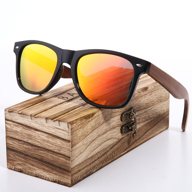 BARCUR Black Walnut Sunglasses Wood Polarized Sunglasses Mens Glasses UV 400 Protection Eyewear in Wooden Original Box