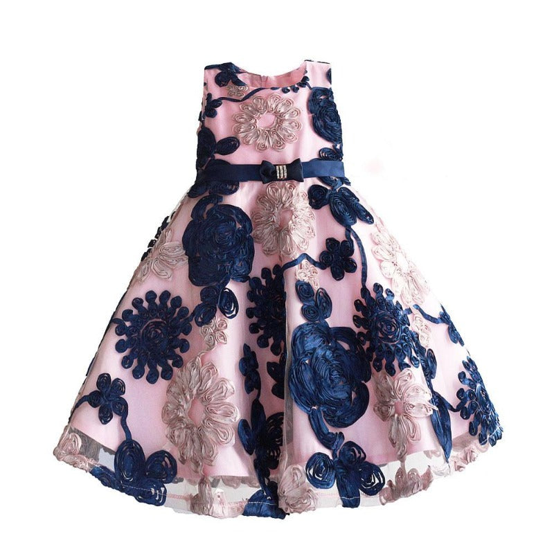 Ribbon Flowers Kids Dresses for Girls Princess Pink Lining Clothes Baby Children Costume for Kids Size 3-8T