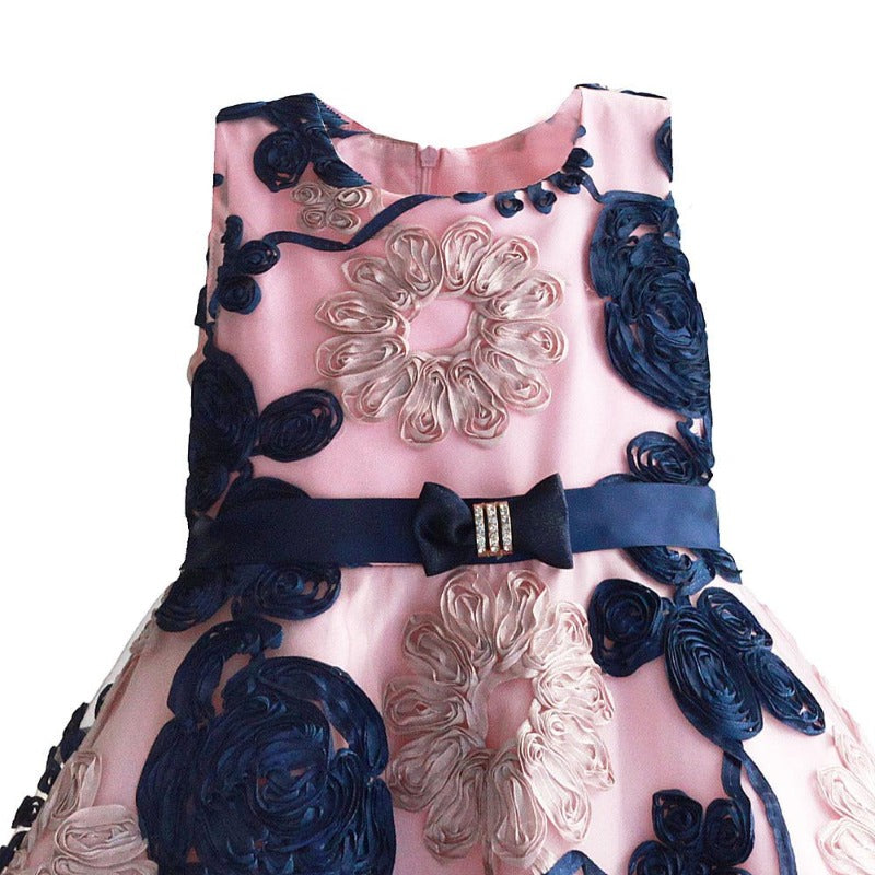 Girl's Ribbon Floral Party Dress