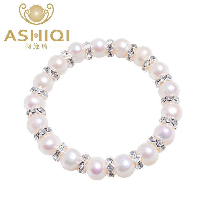 ASHIQI 8-9mm Real Freshwater pearl Bracelets for women Charm Bohemian