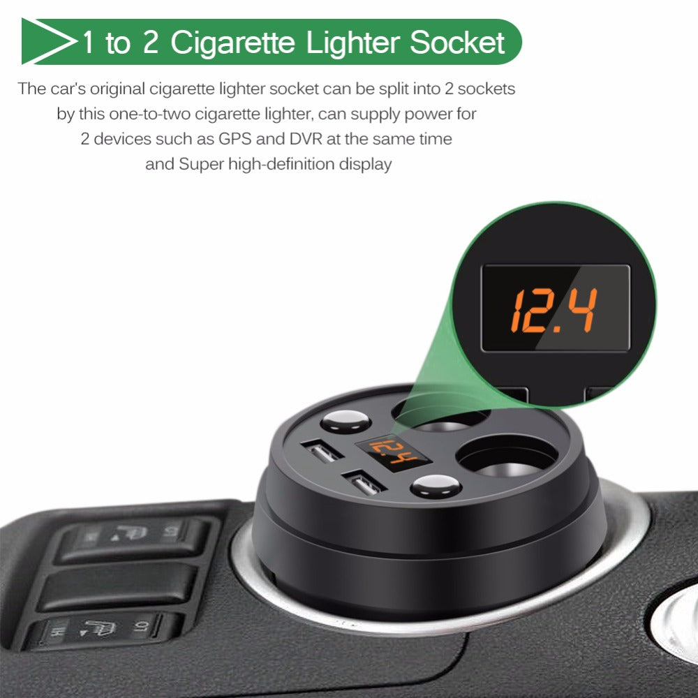 2 USB Port & Cigarette Lighter Car Outlet Adapter