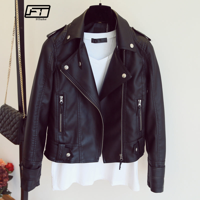 Female New Design Spring Autumn PU Leather Jacket Faux Soft Leather Coat Slim Black Rivet Zipper Motorcycle Pink Jackets