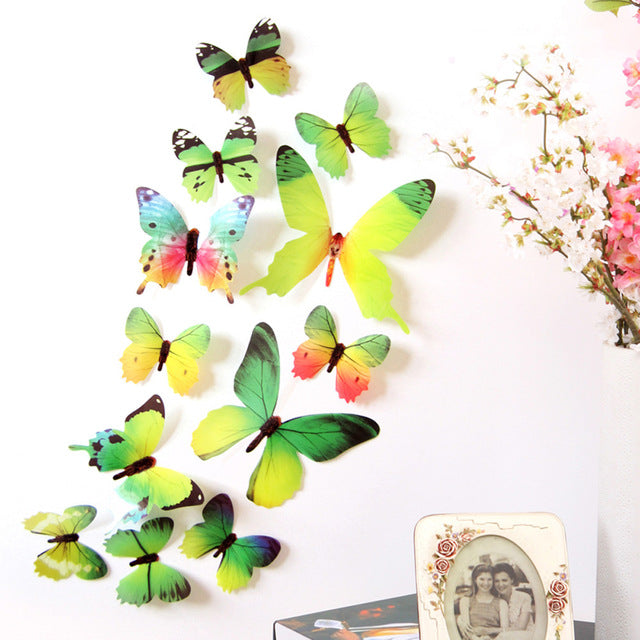 12 Piece: Cute 3D Creative Butterfly Rainbow Wall Stickers