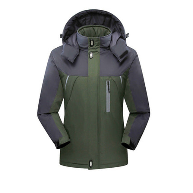 New Men Thicken outwear super warm Coat Winter Climb Mountain Jacket Hooded male Parkas Windproof plus size jackets