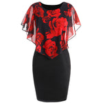AZULINA Plus Size Rose Valentine Overlay Capelet Dress Summer O-Neck Short Sleeve Women Bodycon Party Dresses Vestidos Robe