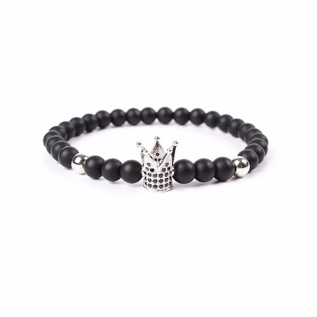 New Brand Trendy Imperial Crown Charm Bracelets Men Natural Stone Stone Beads For Women Men Jewelry pulsera hombres