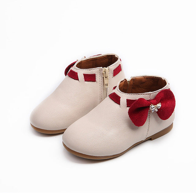 Newest Toddler Baby Girls Children Fashion Bowknot Sneaker Boots Zipper Casual Shoes Little princess Anti-slip Spring/Autumn