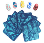 10 Pack: Manicure Nail Art Stamp Designs with Nail Stamper & Scraper