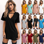 Women's V-Neck Choker Short Sleeve Dress