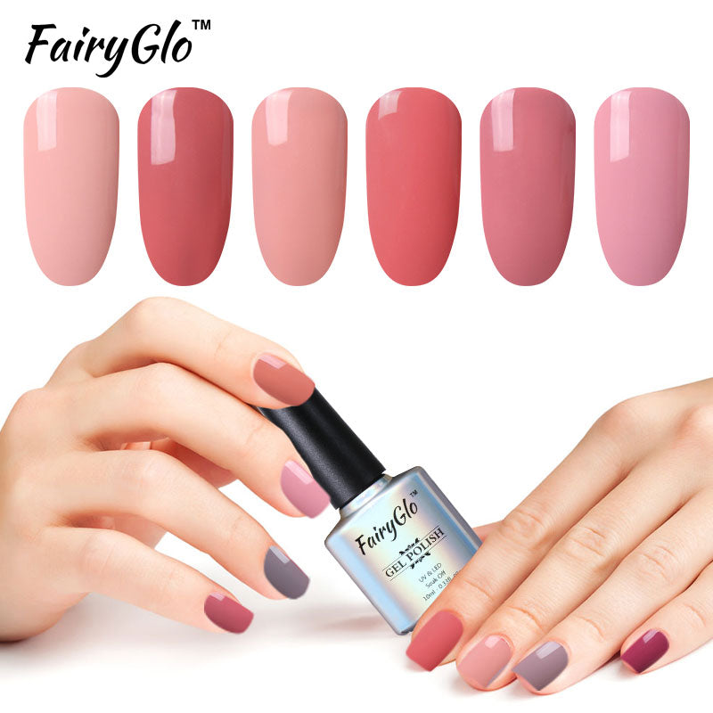 FairyGlo 10ML Nude Color Gel Nail Polish UV LED Soak Off Gel Polish Semi Permanent Hybrid Varnish Lucky Lacquer Paint Gellak