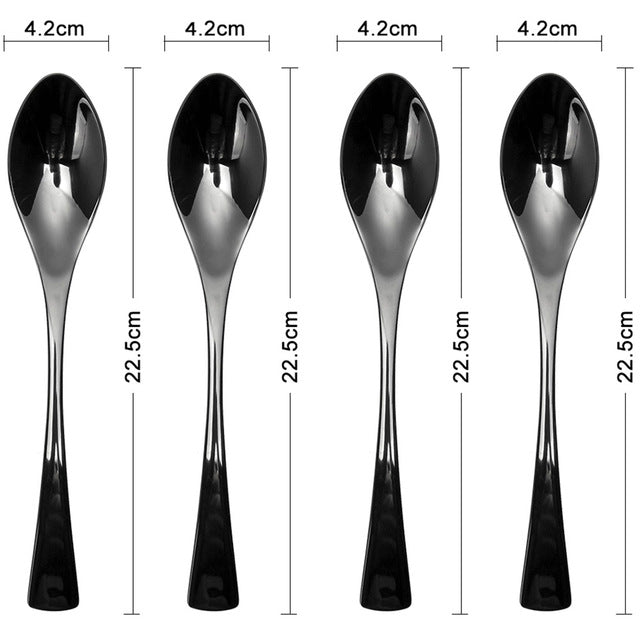 Lekoch 4PCS/Set Black Cutlery Set Stainless Steel Western Food Tableware Sets Fork Steak Knife Dinnerware Set Gifts for Mom