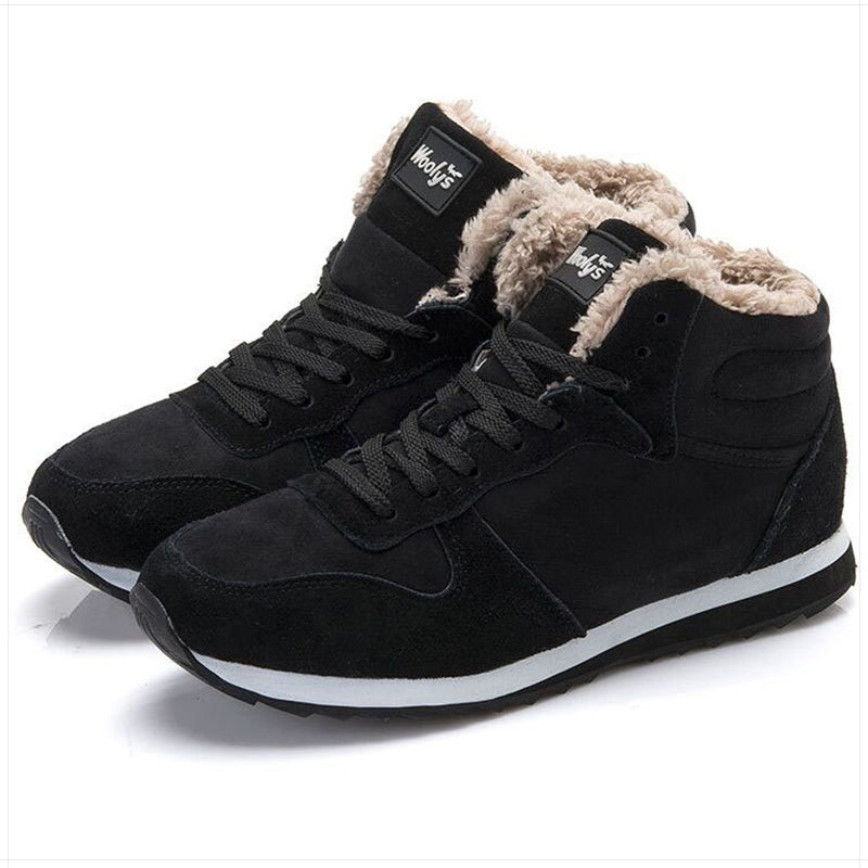 Men boots Fashion Men Winter Shoes Men shoes Snow Boots Winter Keep Warm Fur Shoes Lover Boots Black