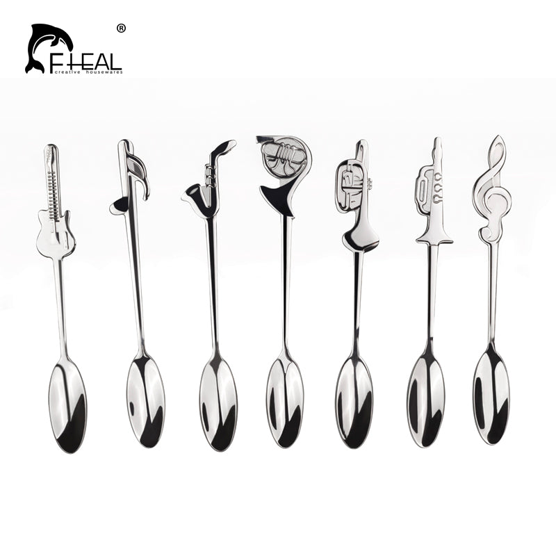 FHEAL 7pcs/set New Musical Symbol Coffee Tools Stainless Steel Tableware Tea Coffee Ice Cream Dinnerware Sets Kitchen Tool