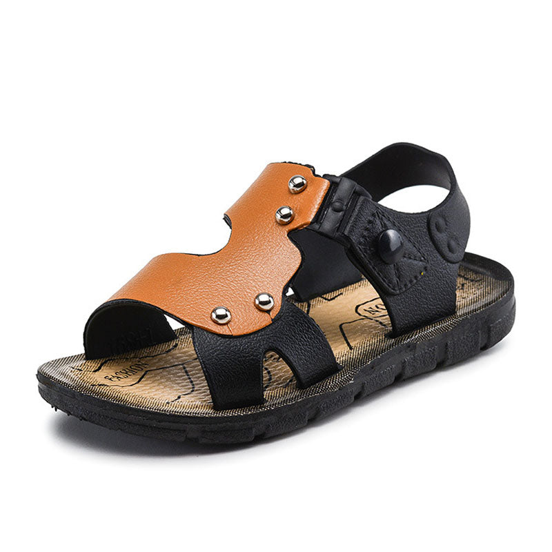 JUSTSL children 's fashion sandals boys beach shoes buckle baby sandals outdoor kids non - slip flat shoes size23-35 Summer