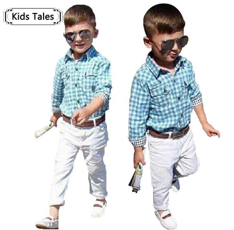 ST154 new fashion boys clothes set kids loose-fitting cotton plaid shirt+ pants+ belt 3 pcs minion kids clothing set retail