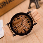 Wooden Quartz Men Watches Casual Wooden Color Leather Strap Watch Wood Male Wristwatch