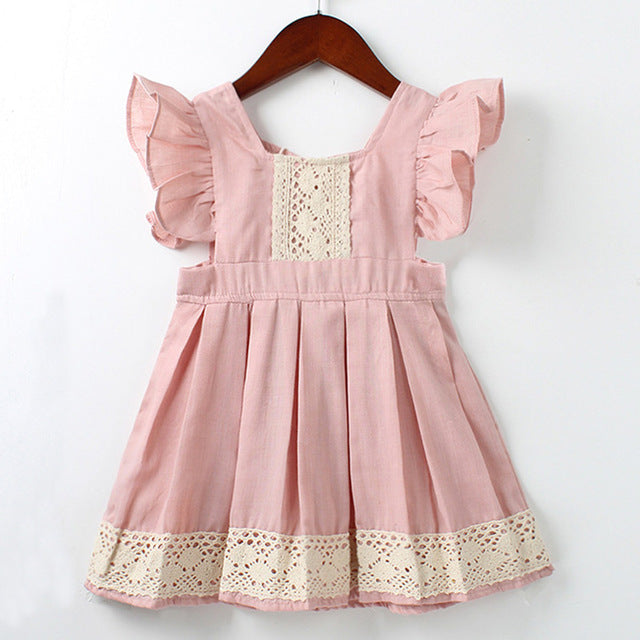Bear Leader Girls Dresses New Brand Princess Girl Clothing Stitching Lace Fly Sleeve Light Pink Girls Dress For 2-6 Year