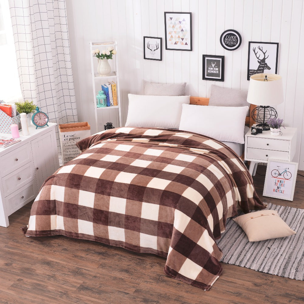 Coral Fleece Plaid Bed Comforter