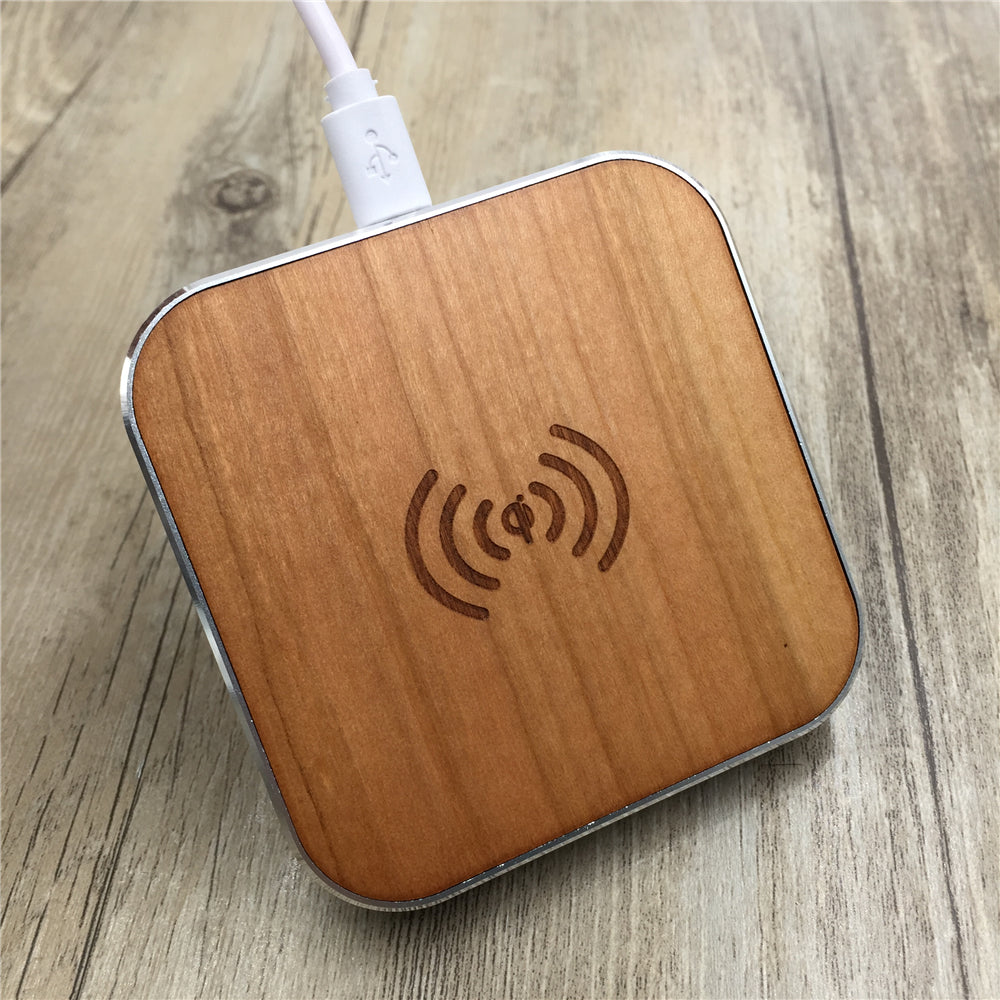 Bamboo Wood Portable Qi Wireless Fast Charging Pad