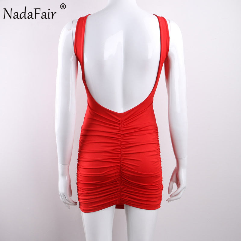 Women's V-Neck Sleeveless Backless Mini Dress