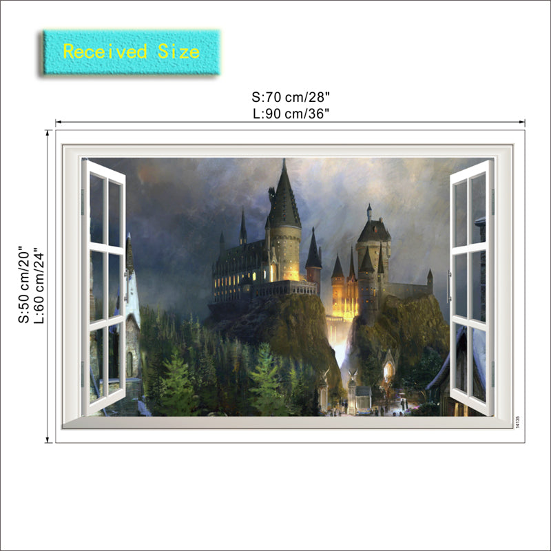 3d window wizarding world school wall stickers for kids room living room decor  diy Hogwarts wall decals Harry Potter posters
