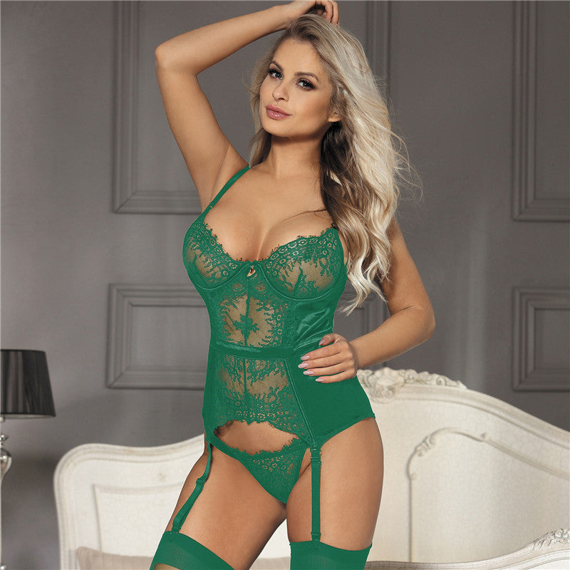 Exotic Apparel Lenceria  i Para Mujer Woman Lace Babydoll Dress Underwear With Garter