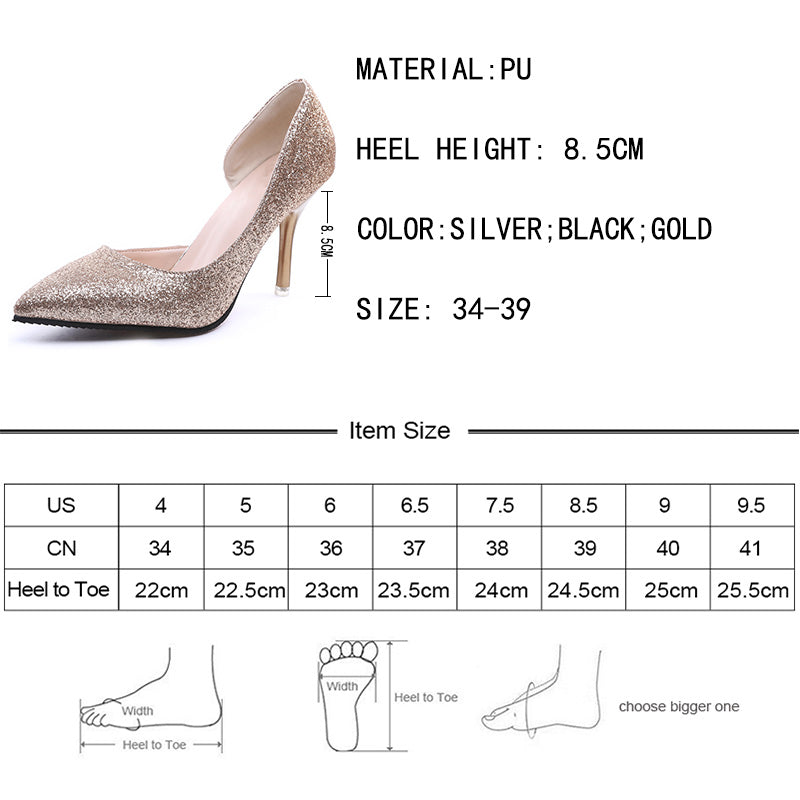 Lucyever Spring Summer Sexy Elegant Women Party Wedding Pumps Fashion Bling Spuer High Heels Pointed Toe Sandals Woman