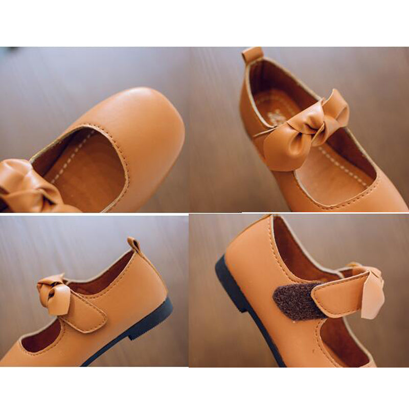 Girls leather shoes Autumn New Bow Single shoes Kids solid color girls baby student soft sole dance shoes