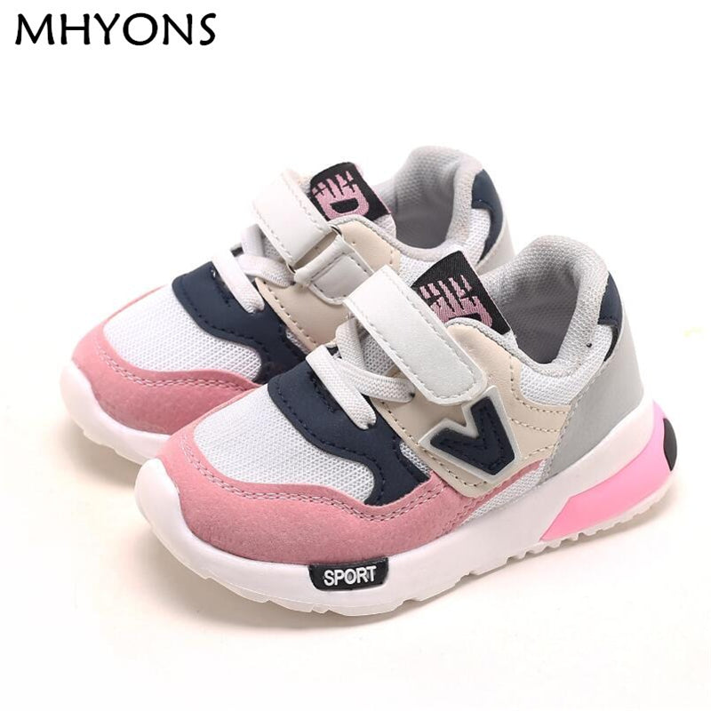 MHYONS Kids Shoes for Baby Boys Girls Children's Casual Sneakers Air Mesh Breathable Soft Running Sports Shoes Pink Gray