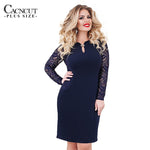 Blue Lace Dress Women Plus Size Dresses Large Size Bodycon Party Dress Spring Dress New Elegant Big Size Vestido