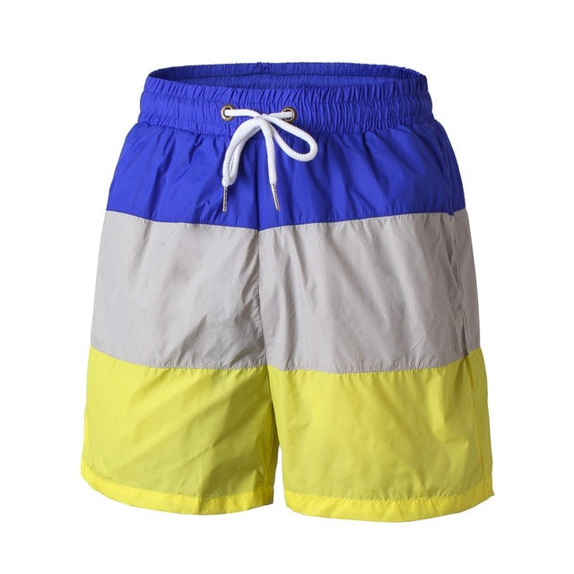 Men Quick Dry Comfortable Shorts Patchwork Drawstring Wear Base Layer Loose Trousers Breathable Beach