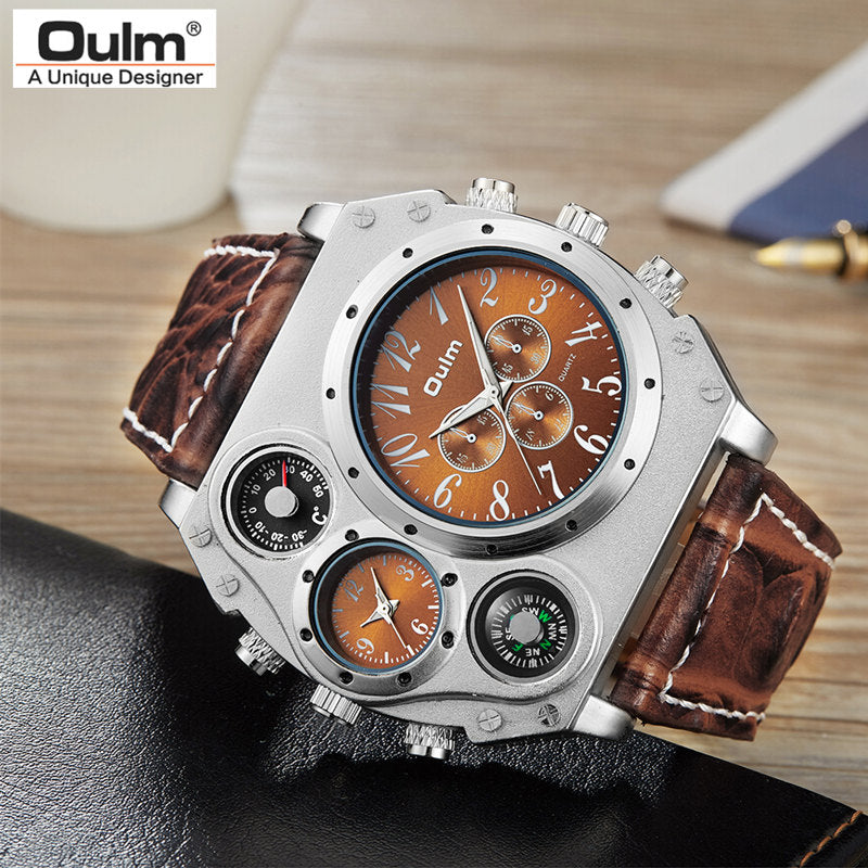 Men's Military Leather Strap Quartz Sports Watch