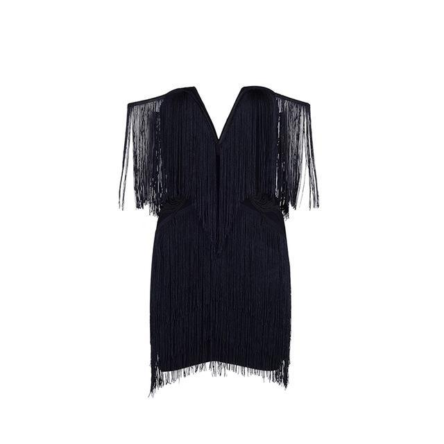 Adyce New Women Bandage Dress Elegant Club Party Dresses Sexy V Neck Off Shoulder Tassels Embellished Mini Fringe Dress