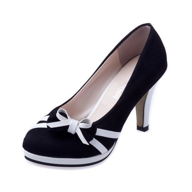 TEXU New women bow round waterproof heels spell color fashion high heels