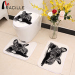 3pcs Black French Bulldog Print Toilet Seat Cover Set
