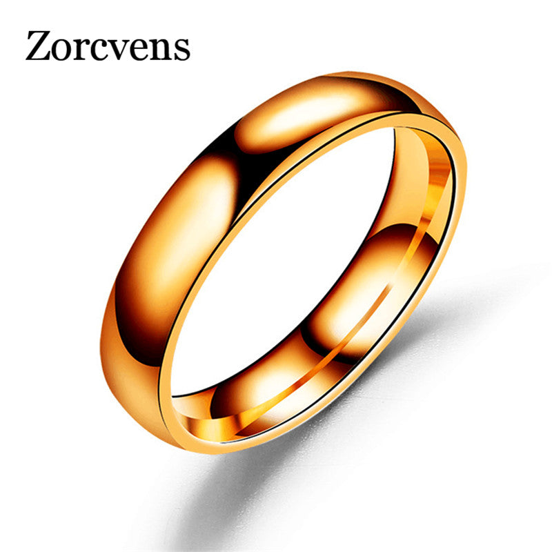 ZORCVENS stainless steel men ring 4mm black & silver & gold-color rings for women men jewelry