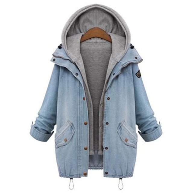 ROMWE Hooded Drawstring Boyfriend Trends Jean Swish Pockets Two Piece Coat Blue Long Sleeve Single Breasted Denim Jacket
