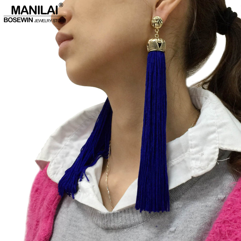 MANILAI 4 Colors Vintage Bohemian Long Tassel Earrings For Women Fashion Jewelry Statement Dangle Earrings Ethnic Earrings