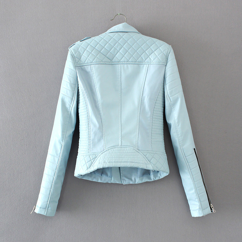 Women Spring Autumn Soft Faux Leather Jackets Lady Motorcycle Zippers Biker Blue Coats Black Outerwear