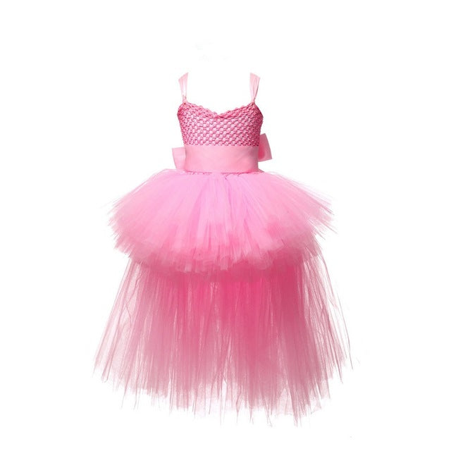 Black Girls Tutu Dress Tulle V-neck Train Girl Evening Birthday Party Dresses Kids Girl Ball Gown Dress Halloween Costume 2-8Y