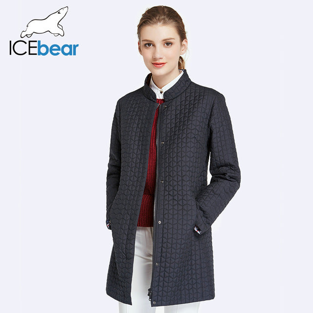 ICEbear Inside Zipper Pocket Designed Cotton Padded Jacket In Womens Parkas Long Thin Women's Coats Round Collar