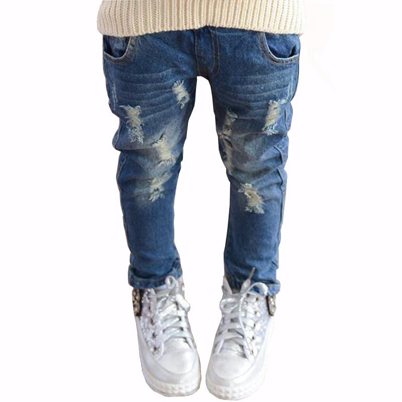 Spring Autumn Elastic Waist Children Denim Pants Kids Boys Jeans Casual Ripped Leggings For Baby Girls Child clothes