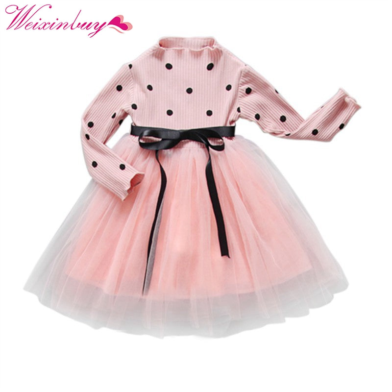 Baby Girl Bow Crochet Knit Dress Kids Long Sleeve Party Wedding Pageant Tulle Tutu Dresses