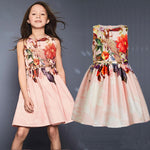 Girls Dresses Brand Kids Dresses Belts 2pcs Printed Flowers Children's Apparel Sleeveless Vest Dress Fashion