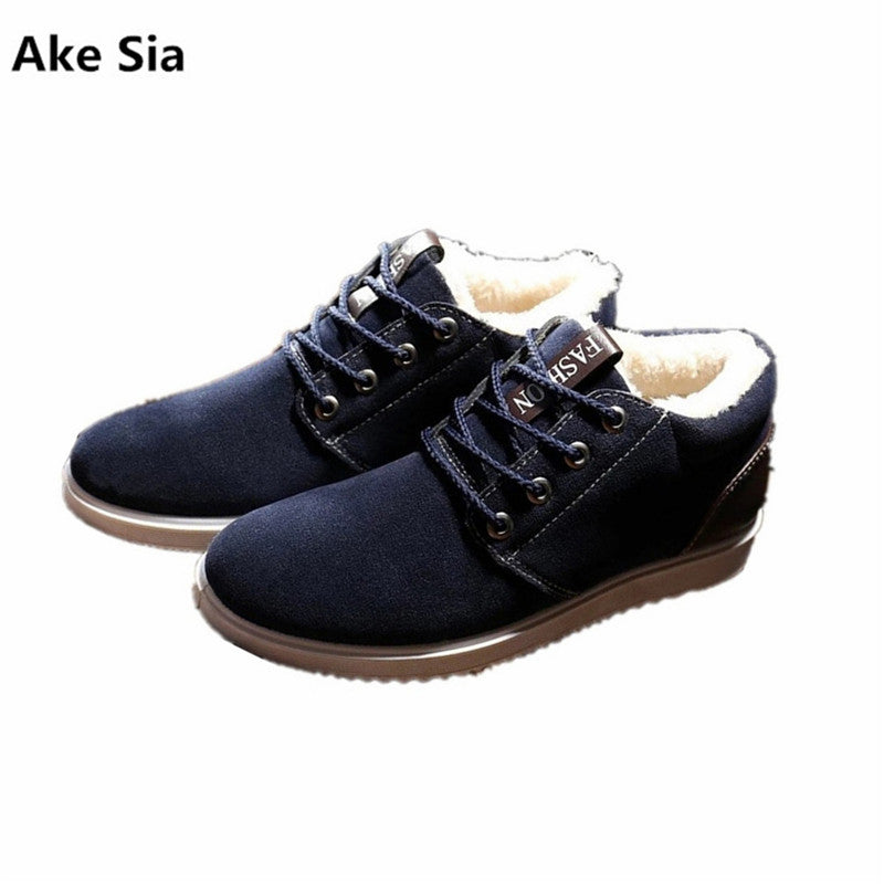 Ake Sia Boots men winter shoes fashion  lace-up snow boots solid black/blue/yellow ankle boots plush warm shoes