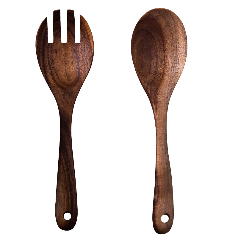 Set of 2 Wooden Cooking Tools Wooden Fork Scoop Dinnerware Set Fruit Vegetable Tools Salad Stirring Set Wood Kitchen Utensils