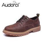 Audorci Man Casual Shoes Men Waterproof Solid Lace-up Man Fashion Shoes With Pu Leather Shoe Size 38-44